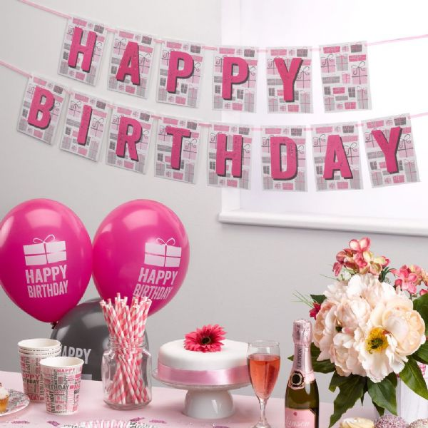 Happy Birthday Pink & Grey Bunting